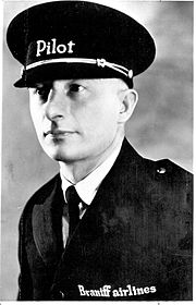 1929 Braniff file photo of Paul Revere Braniff in his Braniff pilot uniform