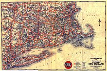 a 1929 map of new england produced by gousha for gulf oil