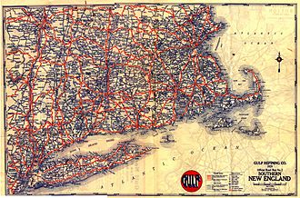 Road map - A 1929 map of New England produced by Gousha for Gulf Oil