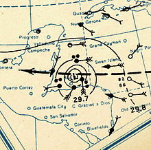 1931 Belize hurricane analysis 10 Sep (MWR).jpg