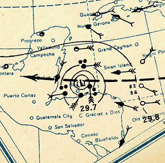 1931 Belize hurricane - Image: 1931 Belize hurricane analysis 10 Sep (MWR)