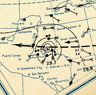 1931 British Honduras hurricane - Image: 1931 Belize hurricane analysis 10 Sep (MWR)