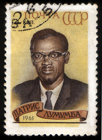 1961 Soviet stamp commemorating Patrice Lumumba, assassinated prime minister of the Republic of the Congo 1961 CPA 2576.jpg