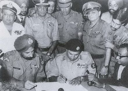 Surrender of Pakistan on 16 December 1971, bringing the Bangladesh Liberation War to an end 1971 Instrument of Surrender.jpg