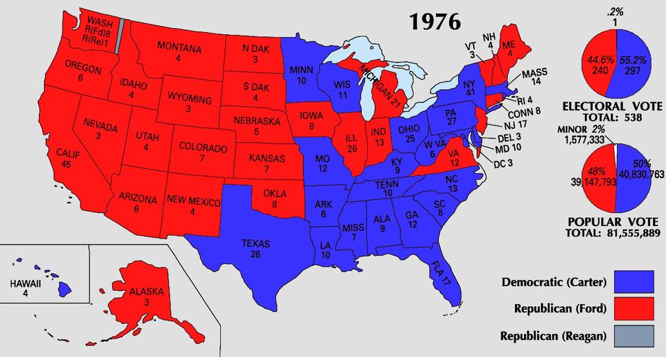 1976 Electoral College Map