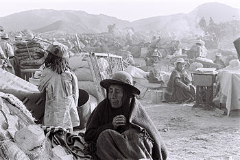 English: An old woman at the Refugee Camp set up by the Red Cross after Maca Earthquake Juy 23rd 1991