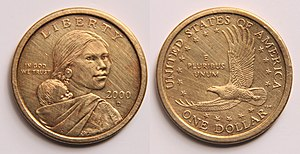 Sacagawea - Obverse: Sacagawea with her son Jean Baptiste Charbonneau, US national motto, year and Liberty on top.