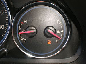 The empty fuel indicator displaying on the fue...