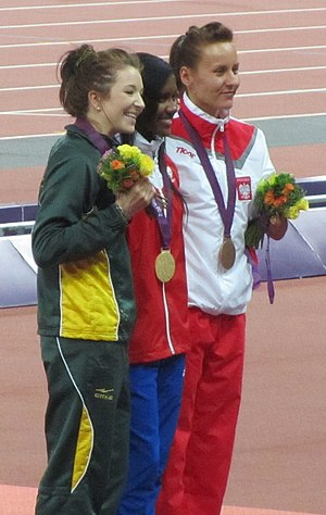 Athletics at the 2012 Summer Paralympics – Women's 400 metres T46 - Image: 2012 Paralympics Women's 400m T46 Victory Ceremony