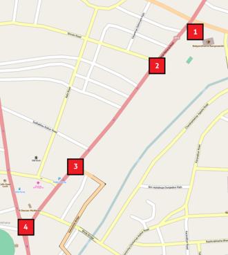2012 Pune bombings - Map of the 2012 Pune attacks showing the principal targets numbered: (1) Balgandharva Auditorium, (2) Near Dena Bank, JM Road, (3) McDonald's restaurant, (4) near Garware Bridge.