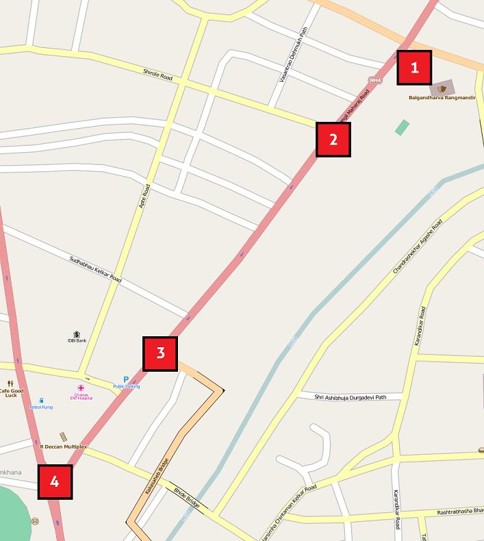 2012 Pune bombings map