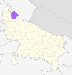 Location of Bijnor district in Uttar Pradesh