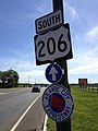 2014-08-29 14 35 31 Signs along U.S. Route 206 southbound at Jacksonville-Jobstown Road (Burlington County Route 670) in Springfield Township, New Jersey.JPG