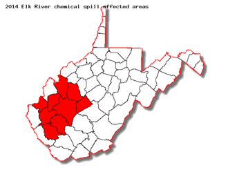 2014 Elk River chemical spill - Counties (pictured) in West Virginia affected by the 2014 Elk River chemical spill.