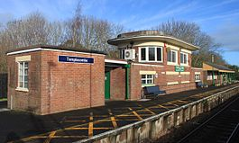2015 at Templecombe station - old signal box and waiitng room.JPG