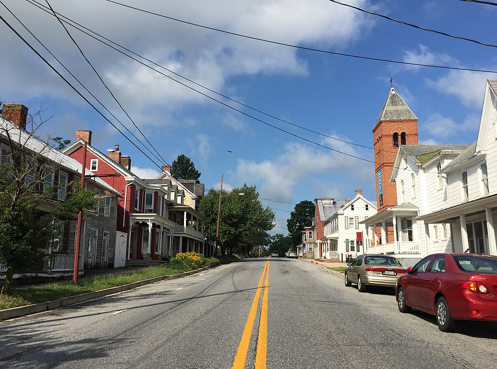 2016-07-29 09 32 04 View west along Maryland State Route 34 (Main Street) between Mechanic Street and Hall Street in Sharpsburg, Washington County, Maryland