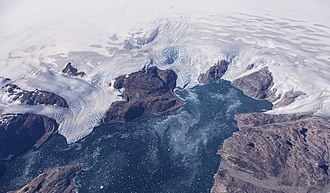 Operation IceBridge - Bruckner and Heim Gletschers pouring into Johan Petersens Fjord in eastern coastal Greenland. Taken from the NASA HU-25C Falcon aircraft, September 2016.