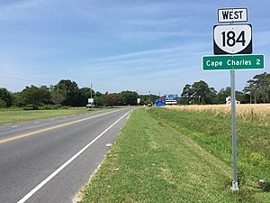 Virginia State Route 184 - View west at the east end of SR 184