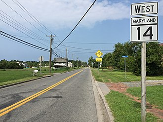 Maryland Route 14 - View east along MD 14 in East New Market