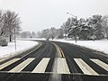 2018-03-21 11 30 01 View west along a slushy Franklin Farm Road (Virginia State Route 6819) at Tranquility Lane (Virginia State Route 6858) in the Franklin Farm section of Oak Hill, Fairfax County, Virginia.jpg