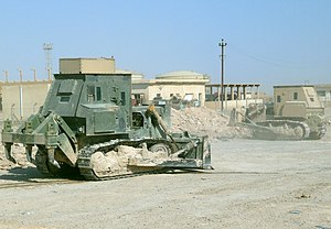 Caterpillar D7 - Two armored D7 bulldozers out on a mission in Ramadi, Iraq.