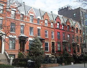 Carroll Gardens, Brooklyn - Houses with large front gardens on Second Place, laid out in 1846 by surveyor Richard Butt