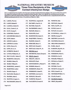 Combat Infantryman Badge - Image: 3x CIB Recipients list p 3of 5