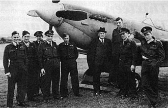 No. 485 Squadron RNZAF - Pilots of the Squadron with NZ High Commissioner Bill Jordan circa 1944