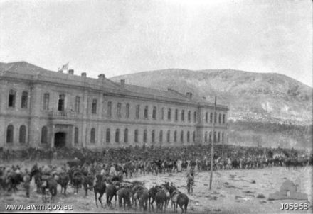 The Turkish Hospital in Damascus on 1 October 1918, shortly after the entry of the Australian 4th Light Horse Regiment 4ALHinDamascus.jpg