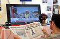 59h7k Mahnwache am Klagesmarkt in Hannover, Tageszeitung Aydınlık (gazete), Claudia Roth im Halk TV canli zum Taksim-Platz in Istanbul wegen der Proteste in der Türkei 2013.jpg