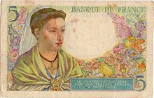 5 francs Berger, Face verso