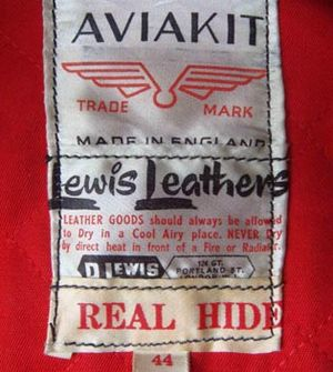 Lewis Leathers - 1960s Aviakit label