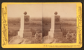91st Pa. Vol. tablet on Little Round Top, looking across Valley of Death to Wheatfield, Peach Orchard, &c, by Tipton, William H., 1850-1929.png