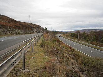 A9 road (Scotland) - One of the sections of dual carriageway built in the late 1970s/ early 1980s; this is the section in the north of Perthshire between Dalnacardoch and Dalnaspidal