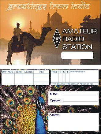 Amateur radio in India - The generic QSL card created by ARSI for amateur radio operators in India