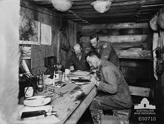 Gordon Bennett (general) - Bennett and his headquarters staff near the Menin Road, Belgium, 20 October 1917