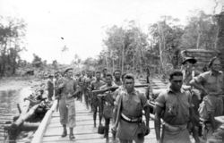 Soldiers march across a bridge amidst a jungle scene