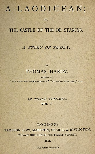 A Laodicean - First edition, title page (Sampson Low, Marston, Searle & Rivington), 1881