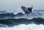 A motor lifeboat braving heavy waves off Tillamook Bay, Oregon.jpg