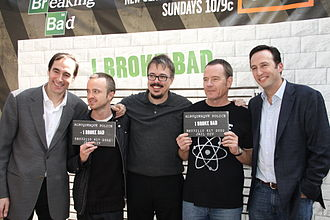 Breaking Bad - From left to right: Josh Sapan (AMC president and CEO), Aaron Paul (Jesse Pinkman), Vince Gilligan (creator), Bryan Cranston (Walter White) and Charlie Collier (President, general manager)