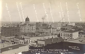 Aberdeen, South Dakota - Labeled photograph of downtown Aberdeen, 1910.