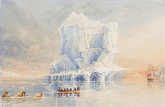 HMS Terror (1813) - A painting by Admiral Sir George Back showing HMS Terror anchored near a cathedral-like iceberg in the waters around Baffin Island
