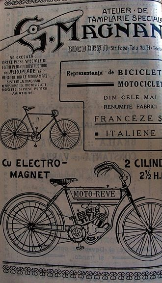 Husqvarna Motorcycles -  1912 Moto-Reve advertisement of G. Magnani in Bucharest