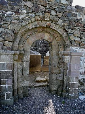 Aghadoe Cathedral - Western dooryway of the cathedral with Romanesque carvings