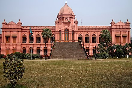 The Ahsan Manzil is one of the largest residences in Old Dhaka, where there are many Indo-Saracenic buildings Ahsan Manzil-Front View.jpg