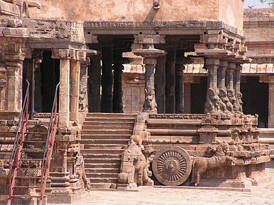 The sanctum is in the form of a chariot drawn by Horses - Airavatesvara Temple