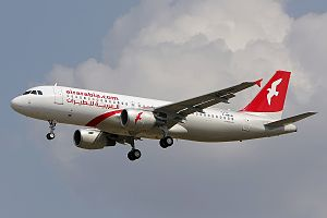 Air Arabia - An Air Arabia Airbus A320-200 approaching Toulouse–Blagnac Airport (2012)