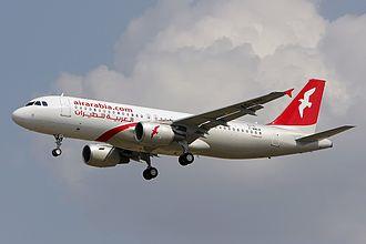 Air Arabia - An Air Arabia Airbus A320-200 approaching Toulouse–Blagnac Airport (2012)