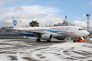 Yuzhno-Sakhalinsk Airport - Vladivostok Air Airbus A320 parked at Yuzhno-Sakhalinsk Airport.