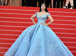 faae27e242a Aishwarya Rai wearing a Michael Cinco gown at the 70th Cannes Film  Festival